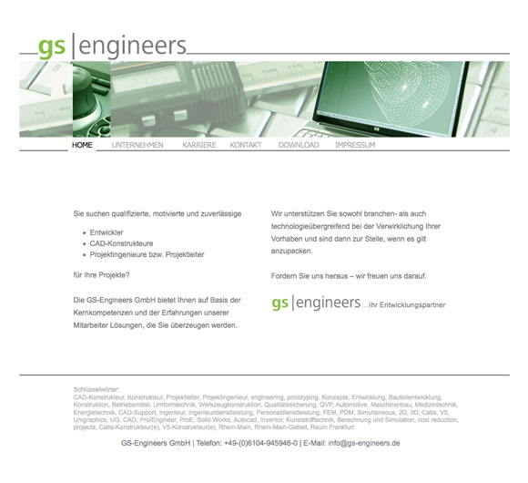 www.gs-engineers.de Screenshot