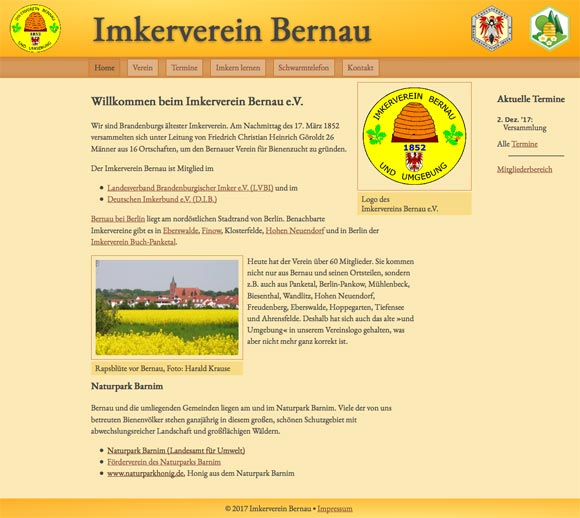 www.imkerverein-bernau.de Screenshot